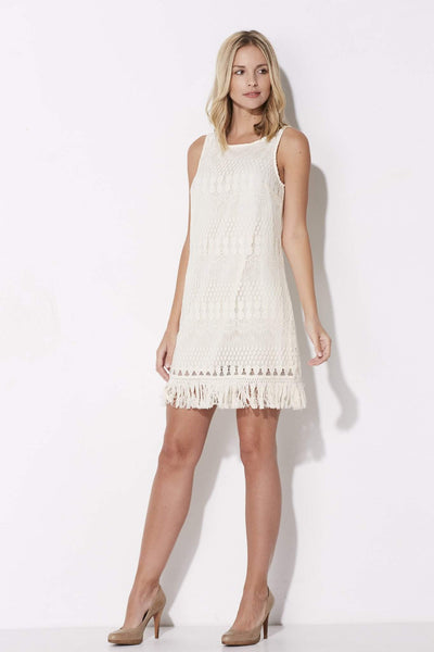 Jack - Cream Lace Dress with Fringe Hem