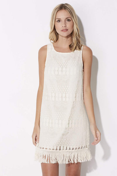 Cream Lace Dress with Fringe Hem