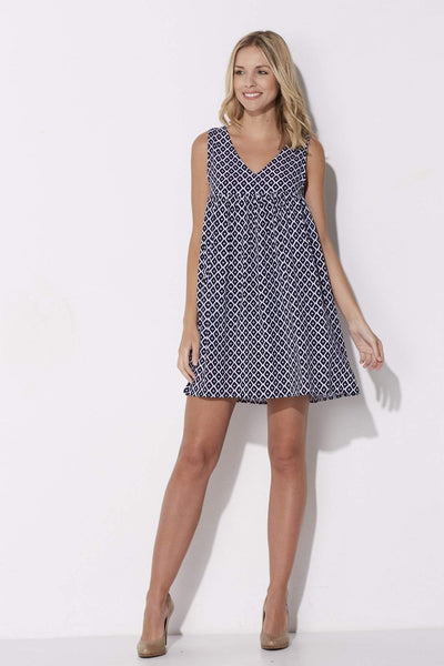 Jack - Navy Print Babydoll Dress - front