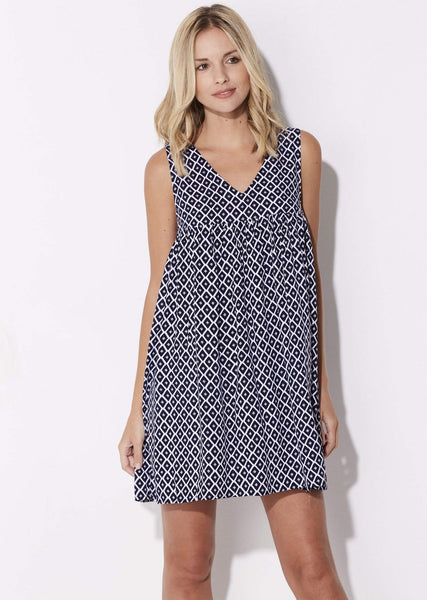 Navy Print Babydoll Dress