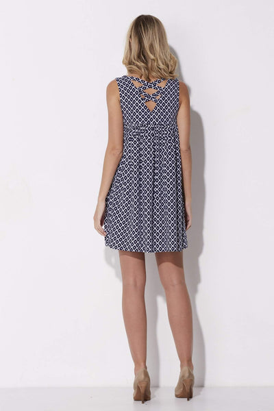 Jack - Navy Print Babydoll Dress - rear