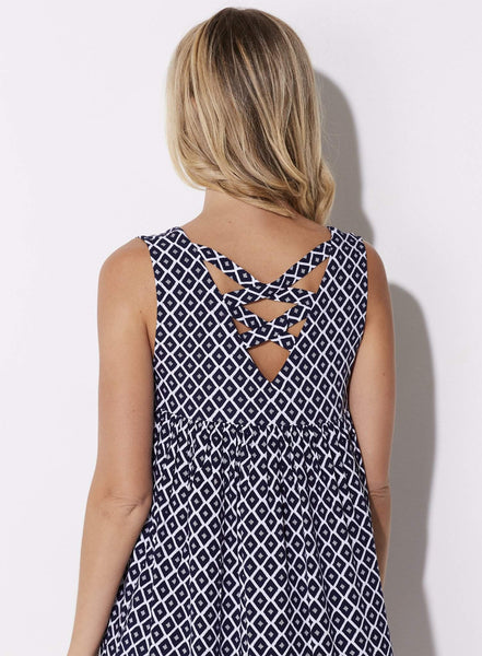 Jack - Navy Print Babydoll Dress - close up rear