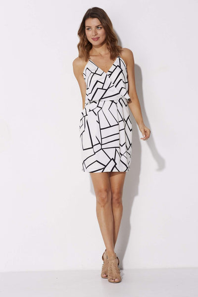 Adelyn Rae - Black and White Geo Dress - front