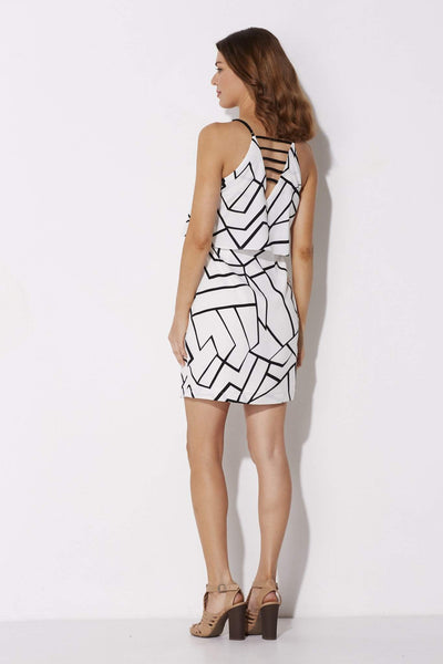 Adelyn Rae - Black and White Geo Dress - rear