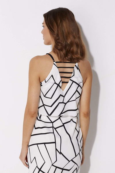 Adelyn Rae - Black and White Geo Dress - rear, close up