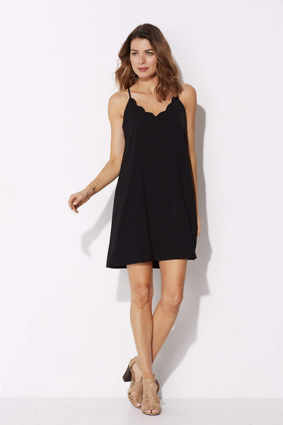 Coverii - Black Scalloped Dress - front