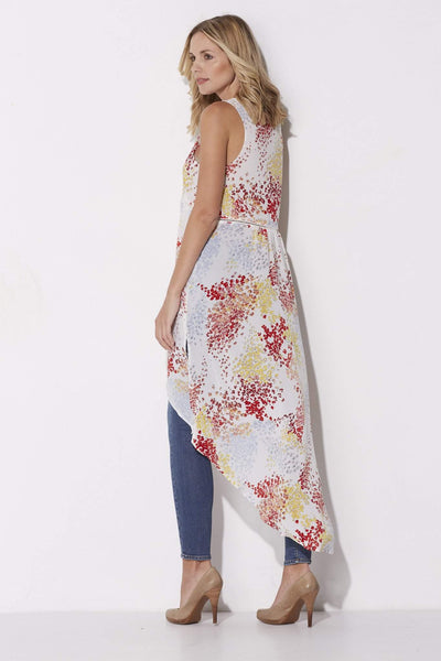 Jack - Sleeveless Floral Split Caftan - rear