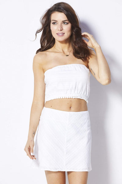 Lucca Couture White Crop Top - Front