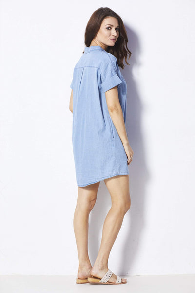 Loveriche Chambray Button Down Dress - Back