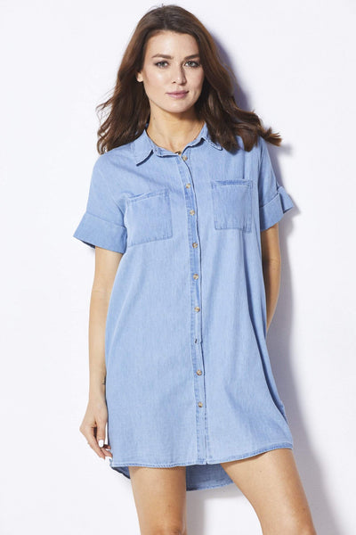 Loveriche Chambray Button Down Dress - Front