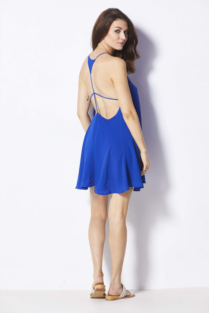 Caramella Blue Apron Dress - Back