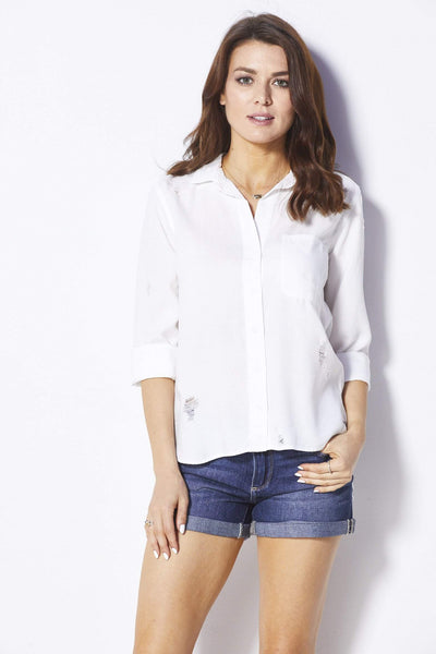 Bella Dahl White Distressed Button Down - Front