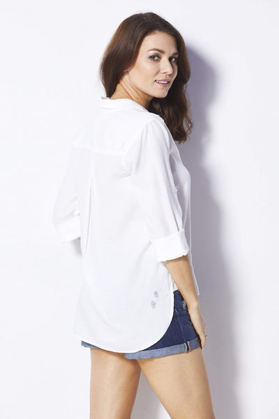 Bella Dahl White Distressed Button Down - Back
