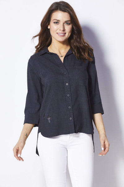 Bella Dahl Charcoal button up top - Front