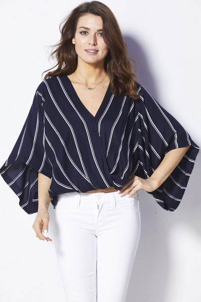 Elan Navy and white striped surplice top - Front