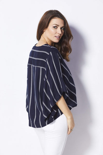 Elan Navy and white striped surplice top - Back