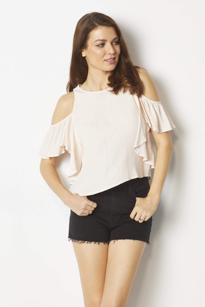 Bishop & Young Light pink cold shoulder top - Front