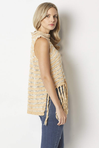 Elan Apricot Fringe Sweater - Back