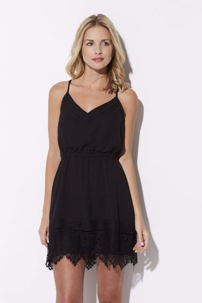 Black Lace Hem Dress