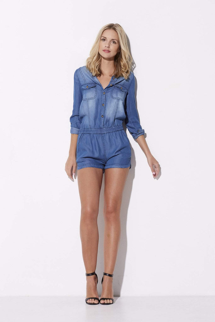 On the Road - Chambray Romper - front