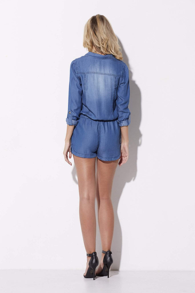 On the Road - Chambray Romper - rear