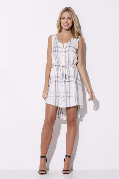 Cupcakes & Cashmere - Pink & Gray Plaid Summer Dress