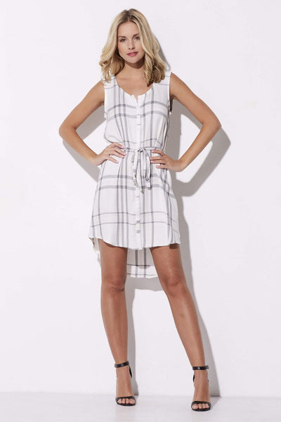Cupcakes & Cashmere - Pink & Gray Plaid Summer Dress - front
