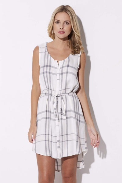Cupcakes & Cashmere - Pink & Gray Plaid Summer Dress - closer up