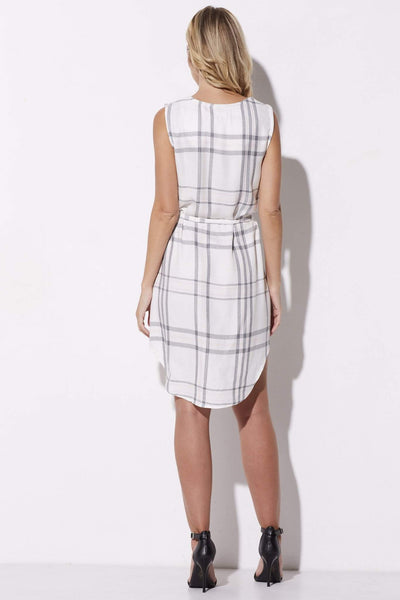 Cupcakes & Cashmere - Pink & Gray Plaid Summer Dress - rear