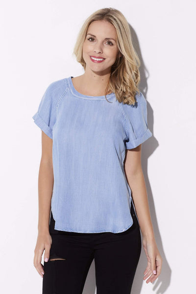 Short Sleeve Chambray Top