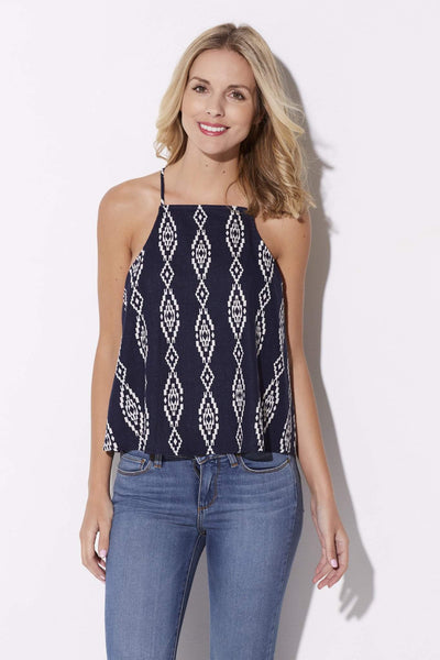 Everly - Navy Aztec Top - front