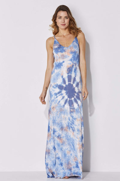 Blue and Peach Tie Dye Maxi