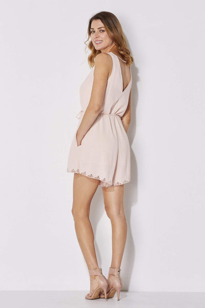 ASTR - Blush Lace Romper - rear