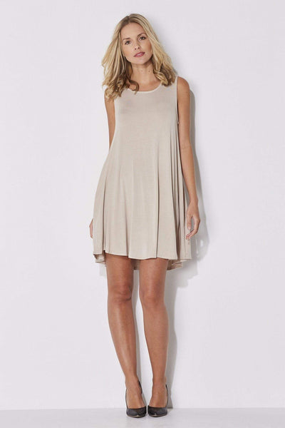 Mittoshop - Sand Sleeveless Shift Dress - front