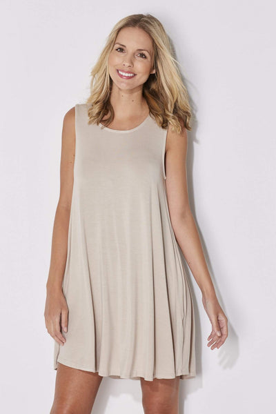 Mittoshop - Sand Sleeveless Shift Dress - closer up