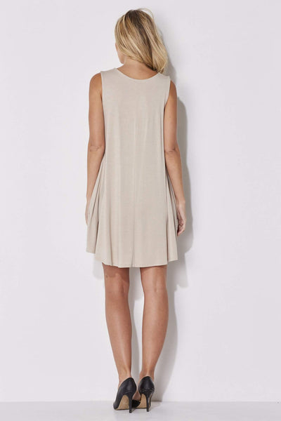 Mittoshop - Sand Sleeveless Shift Dress - rear