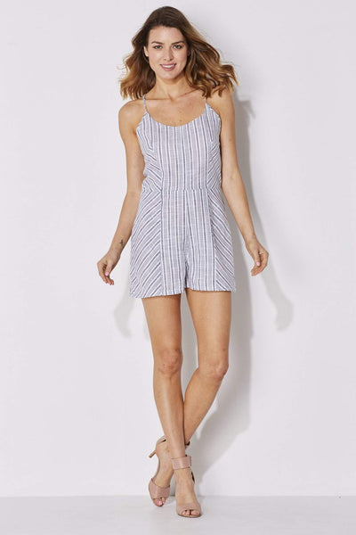 Olive + Oak - Blue White Stripe Romper - front