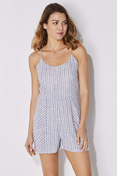 Blue White Stripe Romper