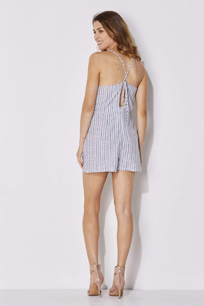 Olive + Oak - Blue White Stripe Romper - rear