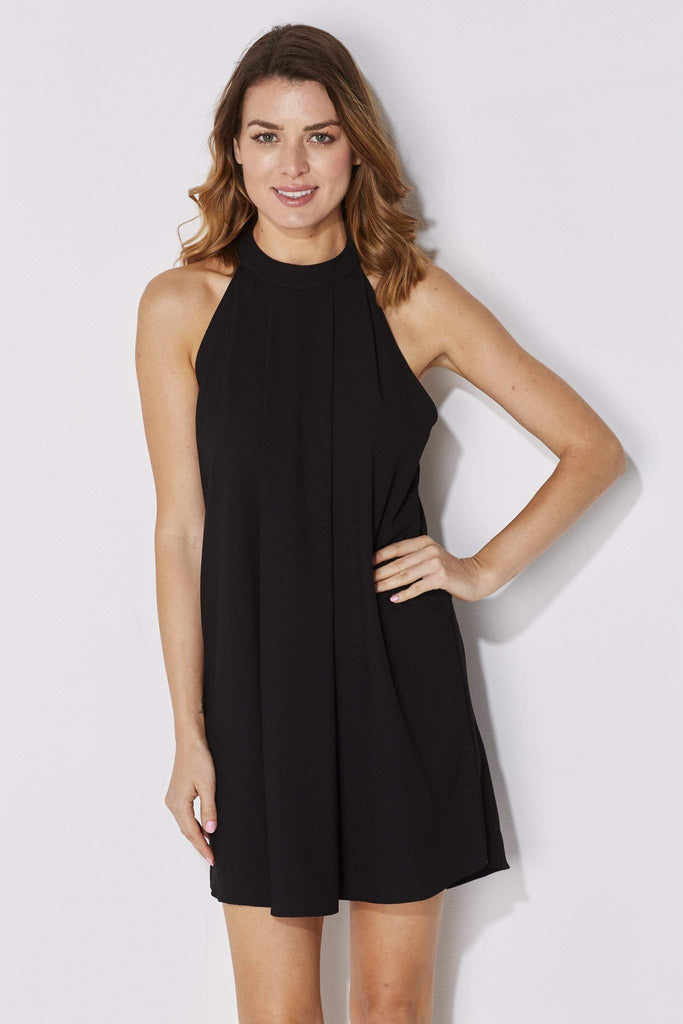 Bishop + Young - High Neck Black Dress - front closer up