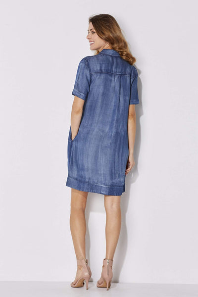 Button Sleeved Tencel Dress