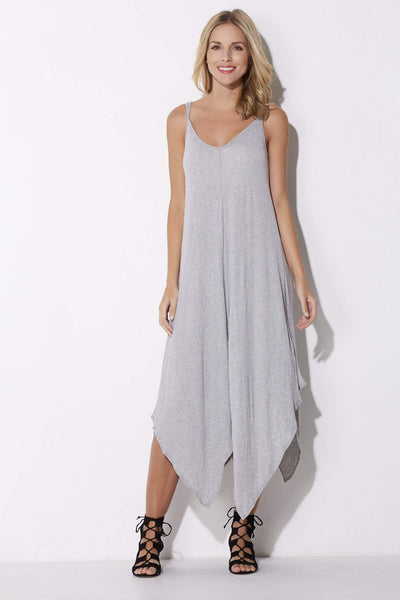 Gray Handkerchief Midi Dress