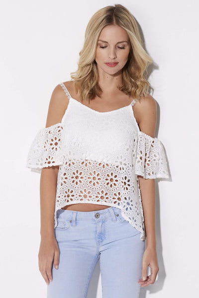 Floral Cold Shoulder Crop