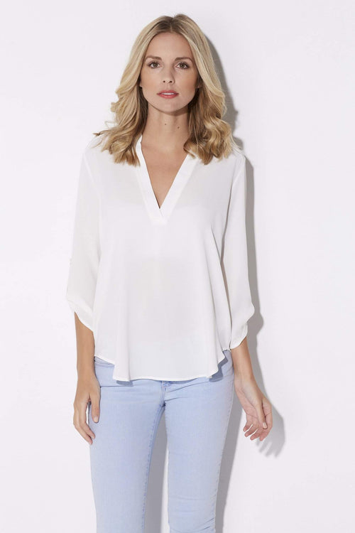 White 3/4 Roll Tab Sleeve Blouse