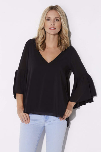 Black Bell Sleeve Top