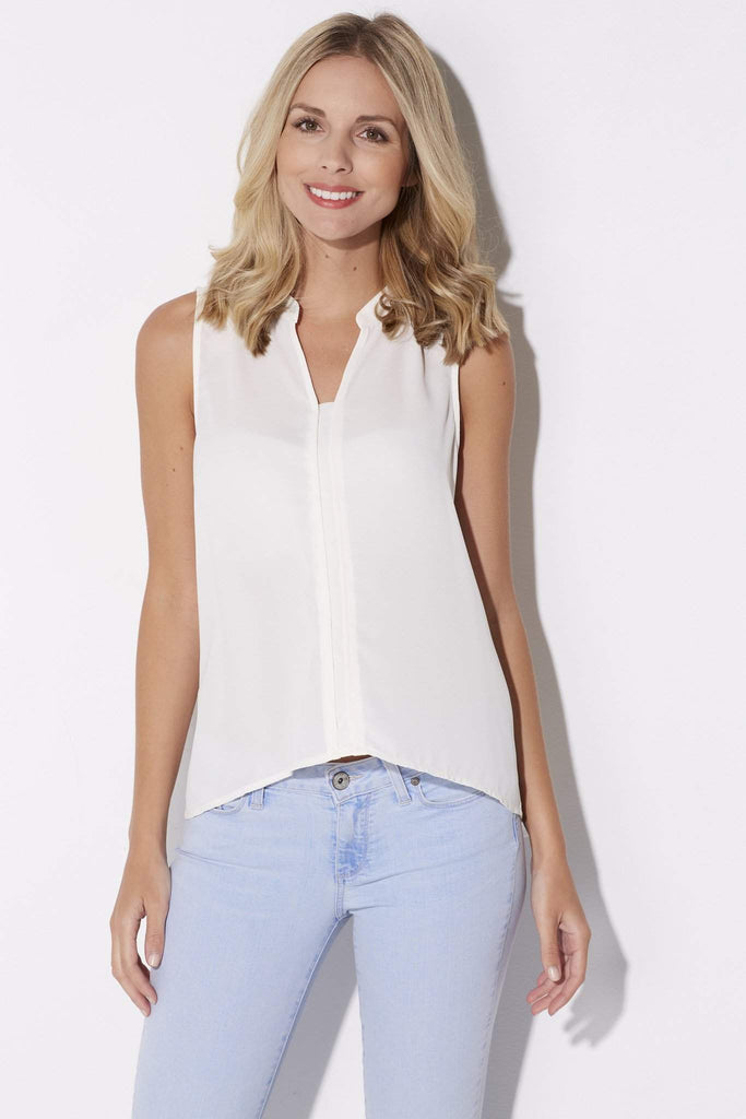 Jack - Ivory Sleeveless Blouse - front