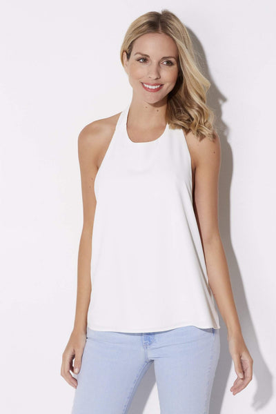 Coverii - White Tie Neck Halter - front