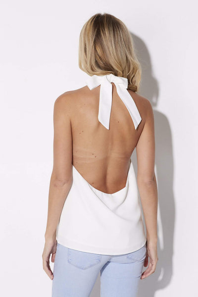 Coverii - White Tie Neck Halter - rear