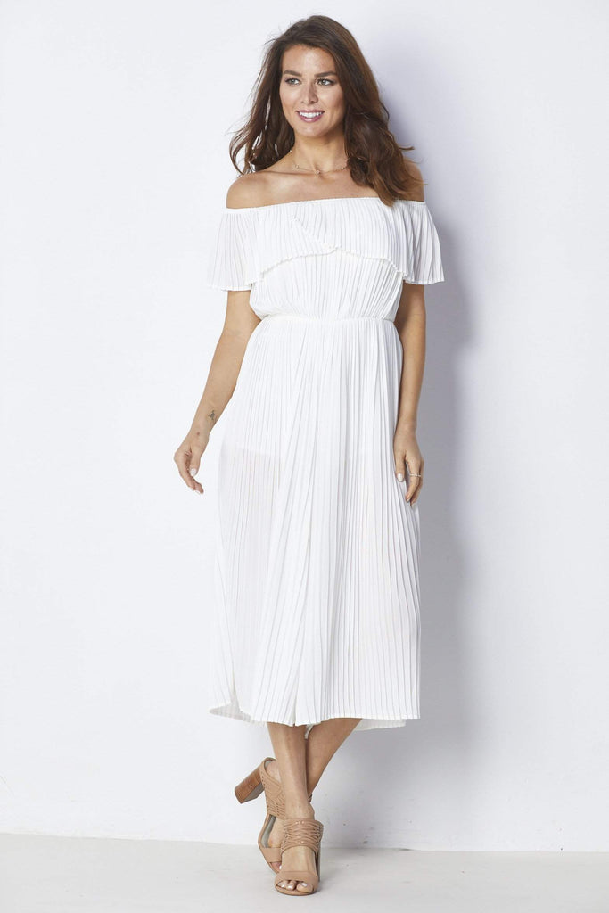 Endless Rose White Pleated Jumpsuit - Front