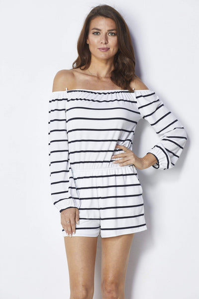 Lumiere Black and white striped romper - Front